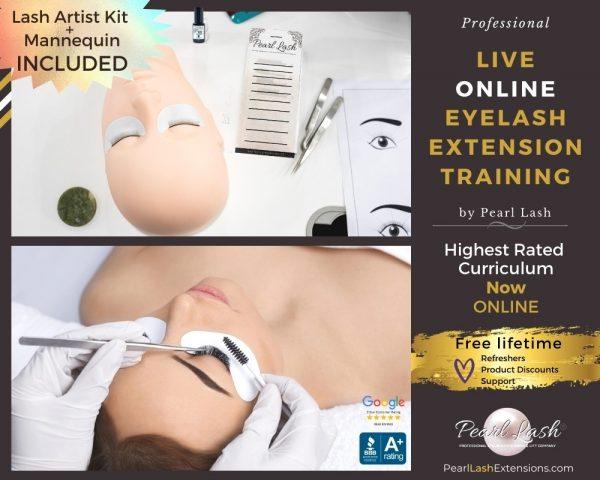 Online Classic eyelash extension training with Starter Kit Pearl Lash