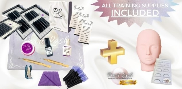 Eyelash Extension Starter Kit and Mannequin Head Included with Online Volume Eyelash Extension Training Pearl Lash